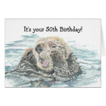 Happy 50th   Birthday Cute Excited Otter Humorous Greeting Card