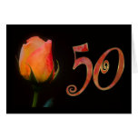 Happy 50th Birthday fifties fifty 50 50th rose Card