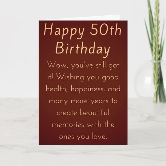Happy 50th Birthday For Him Or Her Card Zazzle