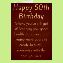 Happy 50th Birthday for Him or Her Card