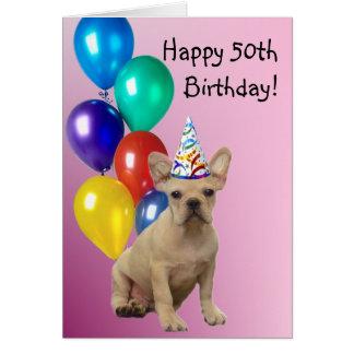 Happy 50th Birthday French Bulldog Card