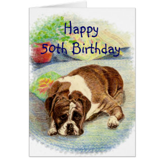 Happy 50th  Birthday  Get Excited Humor Boxer Dog Card