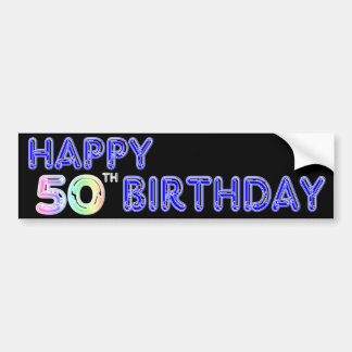 Happy 50th Birthday Gifts and Birthday Apparel Bumper Sticker