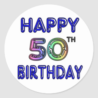 Happy 50th Birthday Gifts and Birthday Apparel Classic Round Sticker