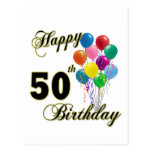 Happy 50th Birthday Gifts and Birthday Apparel Post Cards