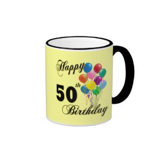Happy 50th Birthday Gifts and Birthday Apparel Ringer Coffee Mug