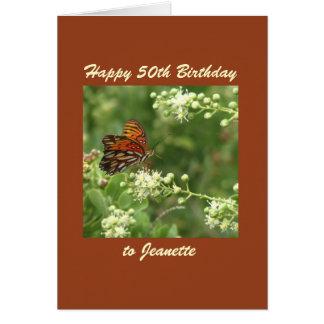 Happy 50th Birthday Greeting Card Butterfly Custom
