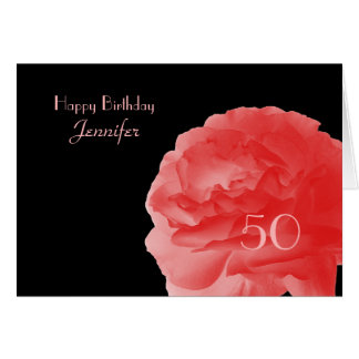 Happy 50th Birthday Greeting Card, Coral Pink Rose Card