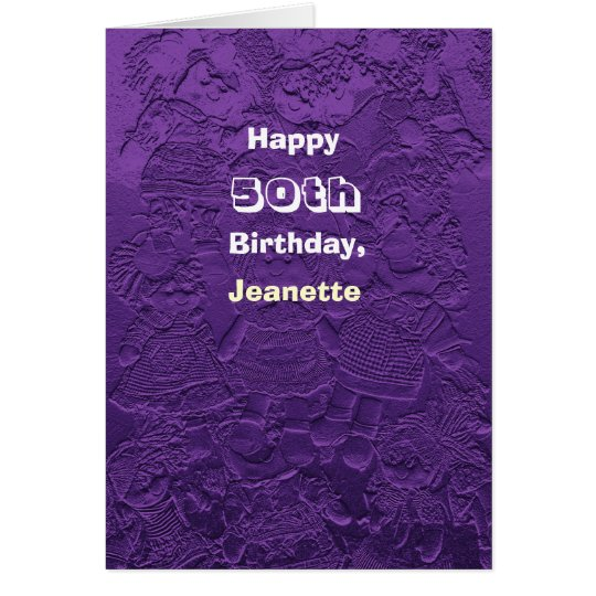 Happy 50th Birthday Greeting Card Purple Dolls