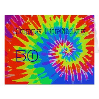 Happy 50th Birthday Groovy Tie-Dye Card Big