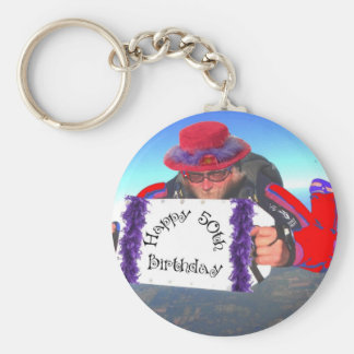 Happy 50th Birthday Basic Round Button Keychain