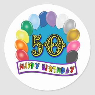 Happy 50th Birthday Merchandise Classic Round Sticker