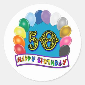 Happy 50th Birthday Merchandise Round Stickers