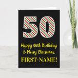 [ Thumbnail: Happy 50th Birthday & Merry Christmas, Custom Name Card ]