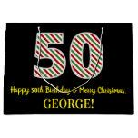 [ Thumbnail: Happy 50th Birthday & Merry Christmas, Custom Name Gift Bag ]