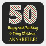 [ Thumbnail: Happy 50th Birthday & Merry Christmas, Custom Name Sticker ]