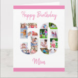 "Happy 50th Birthday Mom Number 50 Photo Collage Card<br><div class=""desc"">Say Happy 50th Birthday Mom with a unique birthday card and your own custom photo collage. This big birthday card for mom has feminine script typography in pink and simply styling in order to focus on your pictures in the number 50. The template is set up for you to edit...</div>"