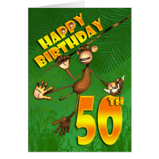 Happy 50th Birthday monkey swinging through the tr Card
