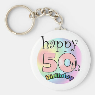 Happy 50th Birthday (pink) Keychain