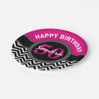Happy 50th Birthday Pink Monogram Chevron Paper Plate