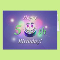 Happy 50th Birthday Smiley Cake Card