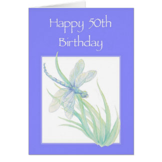 Happy 50th Birthday Watercolor Dragonfly Nature Card