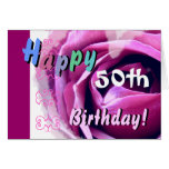 HAPPY 50th  BIRTHDAY with Pink Rose & Blue Flower Greeting Card