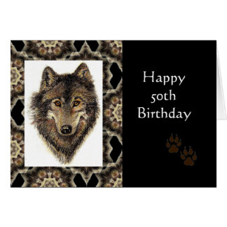 Happy 50th Birthday with Watercolor Wolf Greeting Card