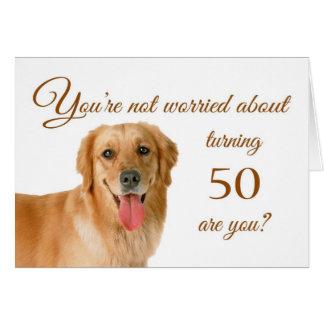 Happy 50th birthday, worried lab greeting card
