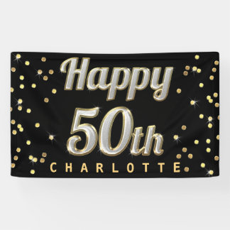 Happy 50th Bling Typography Gold Confetti Black Banner