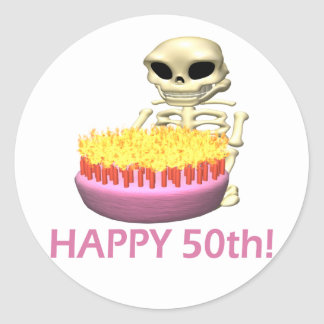 Happy 50th classic round sticker