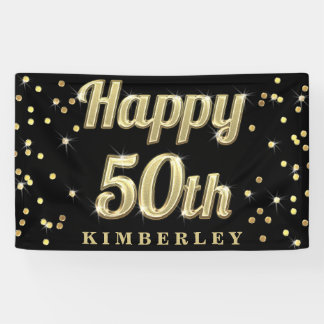Happy 50th Gold Bling Typography Confetti Black Banner