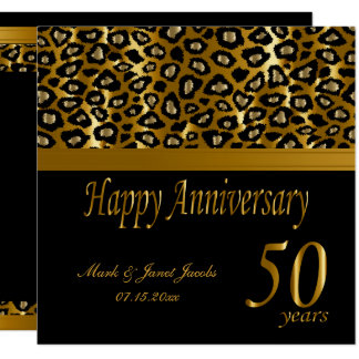 Happy 50th Golden Anniversary | Leopard Pattern Invitation