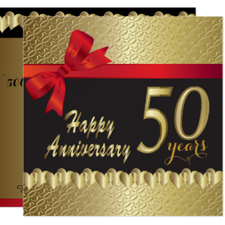 Happy 50th Golden Heart Anniversary Invitation