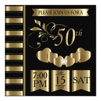Happy 50th Golden Wedding Anniversary Invitation