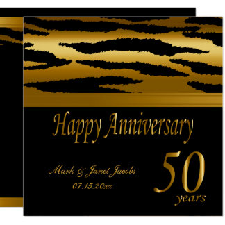 Happy 50th Golden Wedding Anniversary | Zebra Invitation