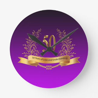 Happy 50th Wedding Anniversary Gifts Round Clocks