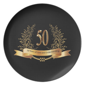 Happy 50th Wedding Anniversary Gifts Melamine Plate