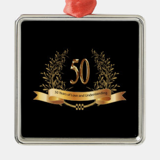 Happy 50th Wedding Anniversary Gifts Square Metal Christmas Ornament