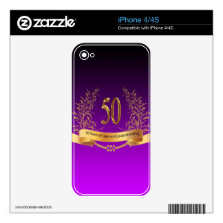 Happy 50th Wedding Anniversary Gifts Skin For iPhone 4
