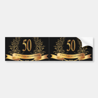 Happy 50th Wedding Anniversary Greeting Cards Bumper Sticker