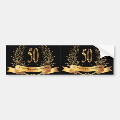 Happy 50th Wedding Anniversary Greeting Cards Bumper Stickers