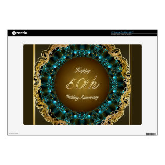 """Happy 50th Wedding Anniversary Multi Gifts Decals For 15"""" Laptops"""