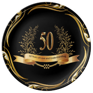 Happy 50th Wedding Anniversary Porcelain Plate