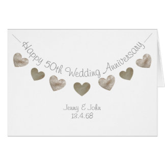Happy 50th Wedding anniversary with golden hearts Card