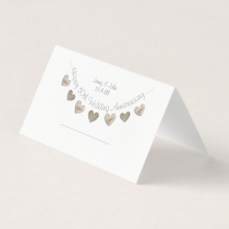 Happy 50th Wedding anniversary with golden hearts Place Card