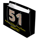 [ Thumbnail: Happy 51st Birthday & Merry Christmas, Custom Name Gift Bag ]