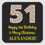 [ Thumbnail: Happy 51st Birthday & Merry Christmas, Custom Name Sticker ]
