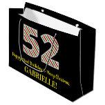 [ Thumbnail: Happy 52nd Birthday & Merry Christmas, Custom Name Gift Bag ]