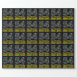 [ Thumbnail: Happy 54th Birthday, Fun Colorful Stars Pattern 54 Wrapping Paper ]